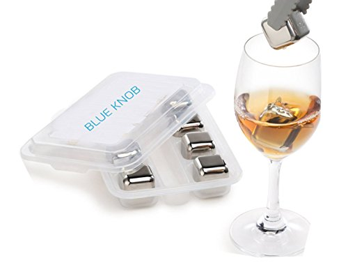 Blue Knob Stainless Steel Ice Cubes Whiskey Stones , Non Slip Rubber End Tongs & Plastic Storage Tray, Pack Of 8 by Blue Knob