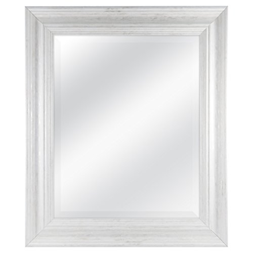 (MCS 16 by 20 inch Scoop Mirror, 21.5 by 25.5 inch Outside Dimension, White Wash Finish 20546, 21.5 x 25.5 Inch)