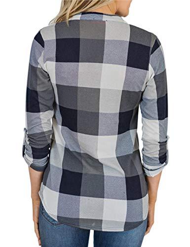 Bluse T Quadri Grigio Lunga Manica Scozzesi Camicie V Top Scollo shirt Ampia A Rokirs Stampa Con E qxOPEwfPg