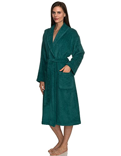 TowelSelections Women's Robe, Turkish Cotton Terry Shawl Bathrobe Medium/Large Alpine Green