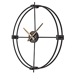 SkyNature Large Wall Clocks, 18 Inch European Vintage Decorative Clock, Indoor Silent Non-Ticking Battery Operated Clock for Living Room, Bedroom, Kitchen, Den - Metal, Black