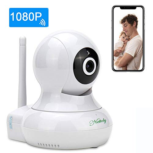 Security Cameras WiFi IP 1080P Indoor Camera Wireless Surveillance Cameras Dog/Baby Monitor Video Cam Night Vision Plug/Play Pan/Tilt with Two-Way Audio 1+3M Power Cable Extension Cable Nettoly