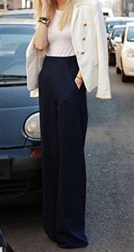 Monocromo Women Nero Pantalone High Grazioso Waist Pantaloni Trousers Larghi Lunga Autunno Palazzo Donna Culotte Eleganti Giovane Baggy ZaFnxPZ