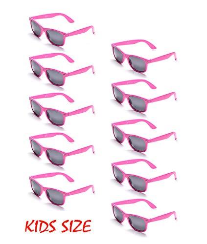 10 Neon Colors Unisex Wholesale Sunglasses for Kids Party Favor Supplies (10Pink) -
