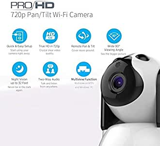 FREDI Security Camera Wireless Camera Baby Monitor 1080P HD Wireless with Two-Way Talking,Infrared Night Vision,Pan Tilt,P2P WPS Ir-Cut Nanny IP Camera Motion Detection (720P)