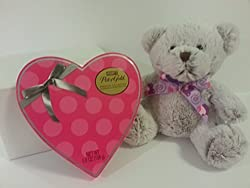 Best Easter Gift Set Beautiful Teddy Bear Soft 10 Gray and white and a Pink Heart Shaped box of Pot of Gold Chocolates and Glossy White Gift Box