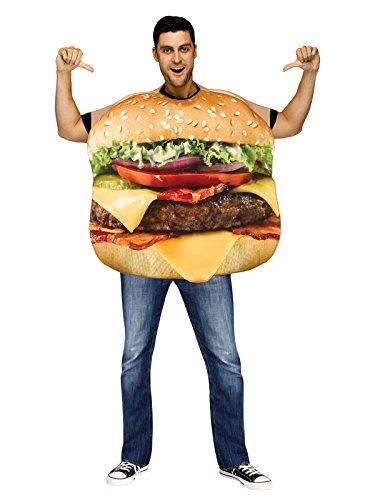 Fun World Men's Cheeseburger Adult Costume, Multi, (Adult Cheese Costume)