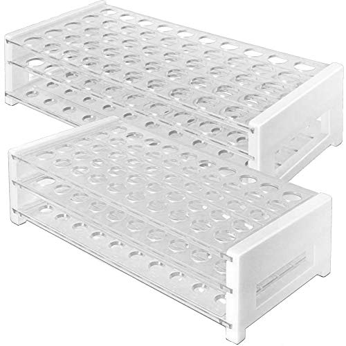 Plastic Test Tube Rack Set, 2 Sizes to fit Both 12/13mm and 15/18mm Test Tubes, 50 Hole, Clear, Karter Scientific 208U5 (Pack of 2)