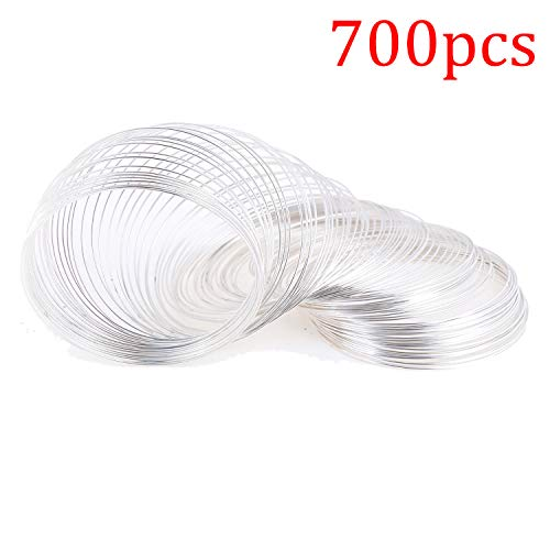 700 Loop Jewelry Wire Memory Beading Wire Cuff Bangle Bracelet Jewelry Findings for Wire Wrap Jewelry DIY Making Supplies, (Silver)