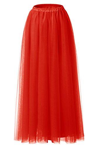 BeryLove Floor Length Tulle Skirt Tutu Maxi Skirt for Prom, Wedding, Bridesmaids Red Size M (Womens Red Tutu Skirt)
