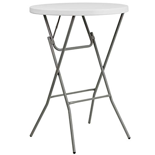 Flash Furniture 32'' Round Granite White Plastic Bar Height Folding Table ()