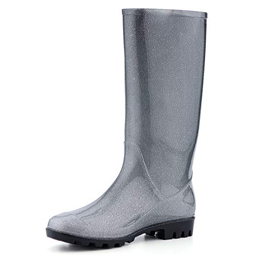 KomForme Women' s Knee High Waterproof Rain Boots Glitter, Matte and ()