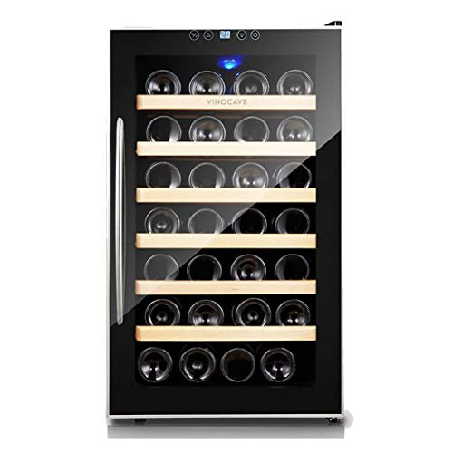 28 Bottle Thermoelectric Wine Cooler -Independent Intelligent Thermostat Wine Cooler - Cigar Storage Cooler - Countertop Wine Cellar with LCD Display Digital Touch Controls
