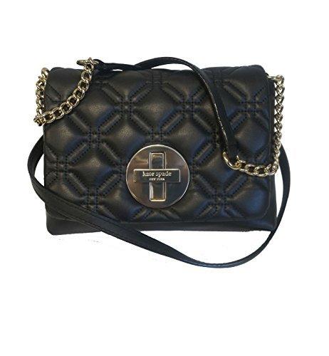 Kate Spade Astor Court Naomi Quilted Bone Handbag (Black) (Chain Bag Leather Link Black Shoulder)