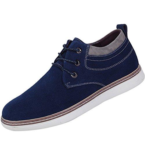 Soleil Lorence Mens Décontracté Style Britannique Chaussures En Cuir Augmentant Daim Oxford Lace-up Flats Mocassins Bleu Foncé