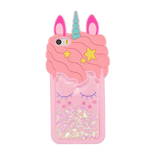 iFunny iPhone 4,iPhone 4S, Fashion Cute 3D Cartoon Animal Quicksand Unicorn Cover,Bling Stars Shockproof and Protective Soft Kawaii Phone Case for iPhone 4 4S (Quicksand Unicorn) (4s Iphone Cases Bling)