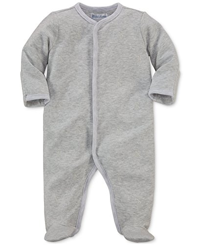 - Ralph Lauren Baby Boys Pony Cotton Footed Coverall Quartz Grey Heather (newborn)