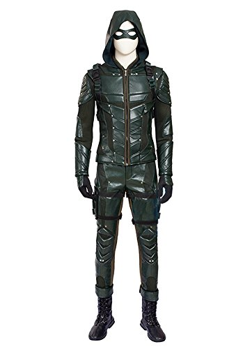 O-O Cosplay Mens PU Leather Battle Suit Halloween Cosplay Costume Full Set (Man-M, Green)