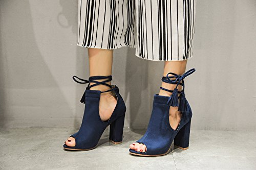 Ankle Navy Mila DOTOTHY Tasseled Peep Lady Bootie Platform Stacked Women's Toe Heel Boot Chunky TOr8pqTw1