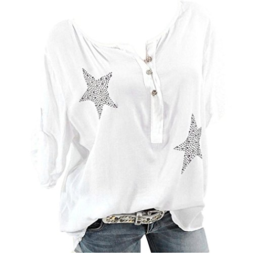 ❤️Casual t-Shirt Top, Clearance Women Button Five-pointed Star Hot Drill Plus Size Tops Blouse Round Neck Cropped Sleeve Top Duseedik (Wool Drill Hat)