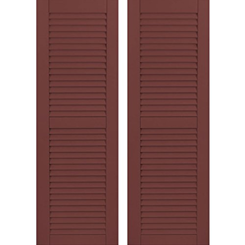 """Price comparison product image Ekena Millwork CWL15X068CRC Exterior Composite Wood Louvered Shutters with Installation Brackets (Per Pair),  Cottage Red,  15""""W x 68.5""""H"""
