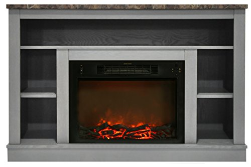 Cambridge CAM5021-1GRY 47 in. Electric Fireplace with 1500W Charred Log Insert and A/V Storage Mantel in Gray ()