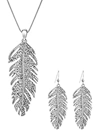 Feather Necklace and Earrings Set White Gold Plated...