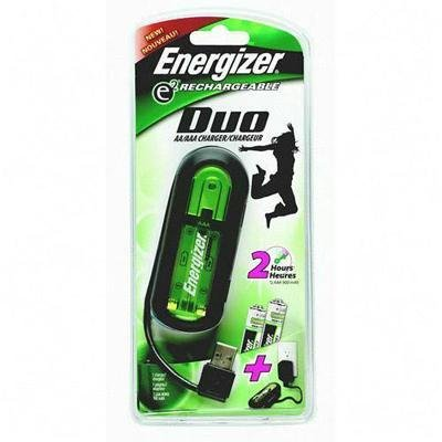(Energizer® DUO USB Charger for USB or AC, Charges Any USB Product Up to 2 Hours )