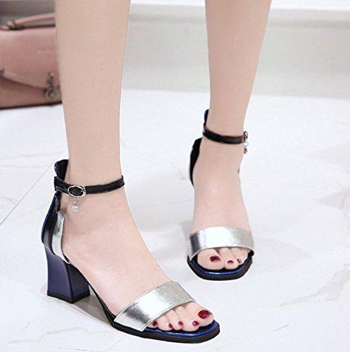 Mode Sandales Bleu Talon Orteil Chunky Bride Cheville Femme Aisun Breloque P5q7x5a6