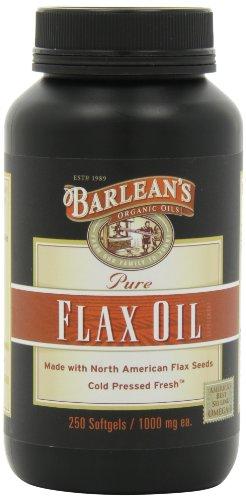 Huiles biologiques de l'huile de lin pure Barlean, 250 gélules comte Bouteille