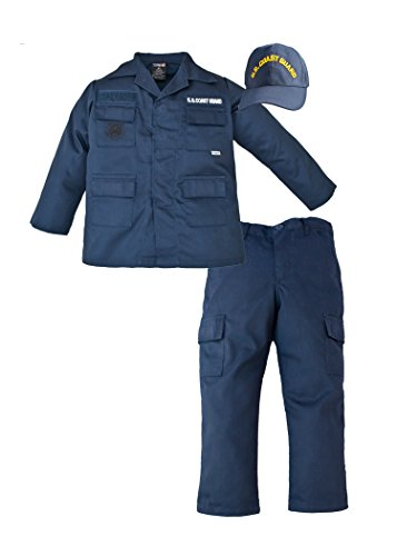 Coast Guard Girl Costumes (Kids US Coast Guard 3 Pc Blue USCG Work Uniform (Small 6-8))
