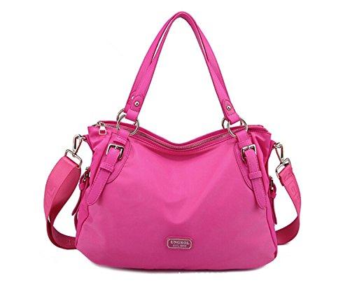 Tiny Chou impermeabile in Nylon da donna, borsetta Ad Tote-Borsa a tracolla, borsa a tracolla, stile Vintage Rosso (Rosso/rosa)