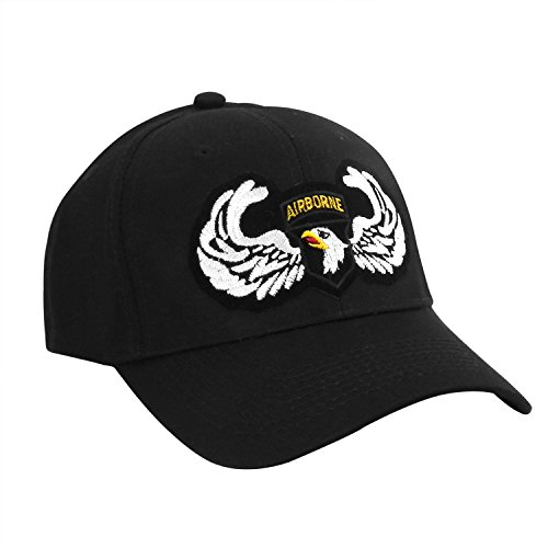 101st Airborne Shield with Wings Logo Patch Official Black Baseball Cap Baseball-hat