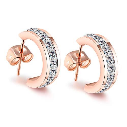 Cate & Chloe Amelia Dainty Huggie Hoop Earrings - 18K Rose Gold Plated Stainless Steel CZ Stud Earrings - Princess Cut Ear Studs - Jewelry Box Included (Rose Gold White Crystals)