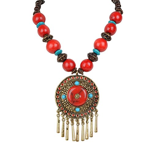 Antique Tassel Fringe Resin Wood Beads Round Enamel Statement Necklace Pendant