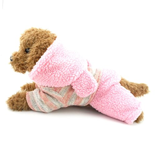 SMALLLEE_LUCKY_STORE Fleece Lined Dog Coat Bunny Hoodie Chihuahua Dog Clothes, Medium, Pink Leopard Print Dog Coat