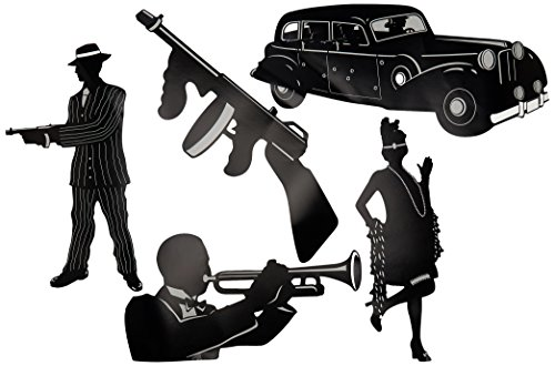 Beistle 57485 5-Pack Gangster Silhouettes, 20-Inch