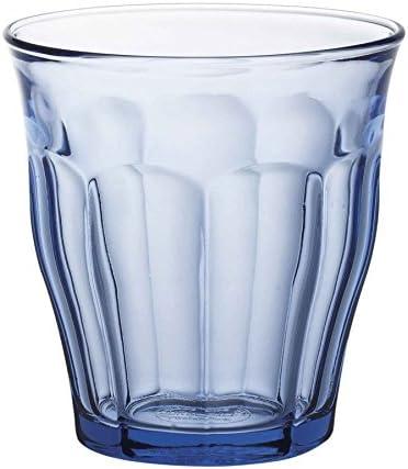 Picardie - Juego de Vasos Bajos de Colores - para Agua, Zumo, Leche o cócteles - Azul - 250ml - Pack de 12