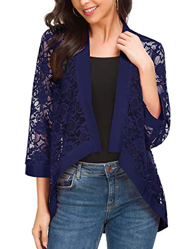 - ROOSEY Women's Bell Sleeve Open Front Cardigans Lace Crochet Loose Casual Cover Up Navy Blue S