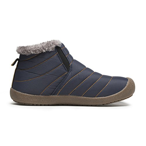Affinest Heren Dames Waterdichte Snowboots Bont Gevoerde Winterschoenen Slip Op Enkellaarsjes Outdoor Sneakers Blauw / High-top