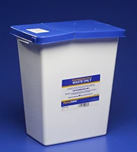 """Pharmaceutical Waste Container White Base / Blue Lid, 17.75H X 11W X 15.5D"""""""