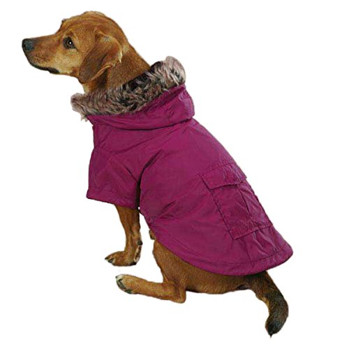 Casual Canine ZM4153 14 75 Fur Trim Parka for Dogs, Small/Medium, Deep Raspberry