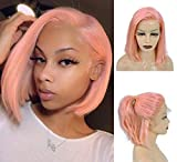 Benafee Peach Pink Lace Front Human Hair Bob Wig Silky Straight Middle Part Bob Wigs Glueless Pre Plucked 180 Density Swiss Lace Bob Wig 10 Inch