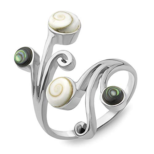 (Sterling Silver Shiva Eye Green Abalone Shell Vine Leaves Wrap around Band Ring Adjustable Size)
