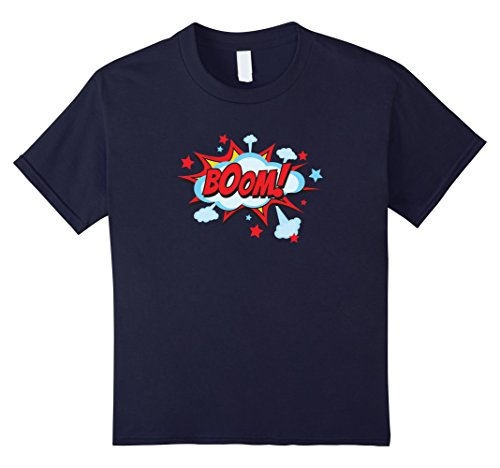 [Kids Comic Book BOOM Shirt, Funny Retro Costume, Superhero Gifts 12 Navy] (Vintage Comic Book Girl Costume)
