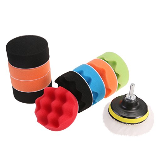 WINOMO 12pcs Polishing Pads Sponge Woolen Polishing Waxing Buffing Pads Kit Auto Car with M10 Drill Adapter