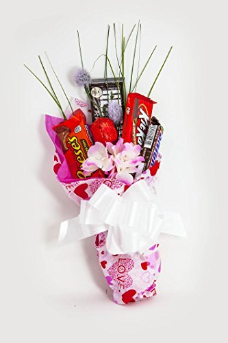 Happy Valentine's Day Candy Bouquet Gift Basket ~ Decorated Bouquet with Assorted Candies and Flowers