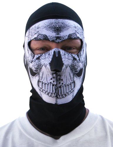 ZANheadgear Coolmax Extreme Balaclava with Full Skull Mask (Black and White)