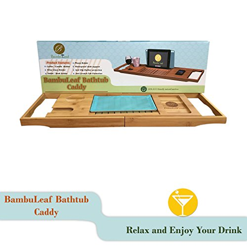Bamboo Bathtub Caddy With Extending Sides , Adjustable Book Holder , Rubber Base by BambuLeaf