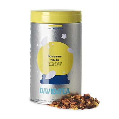 DAVIDsTEA Forever Nuts Spiced Loose Leaf Herbal Tea Iconic Tin, with Almonds, Apple, and Cinnamon, 101g / 3.6oz ()